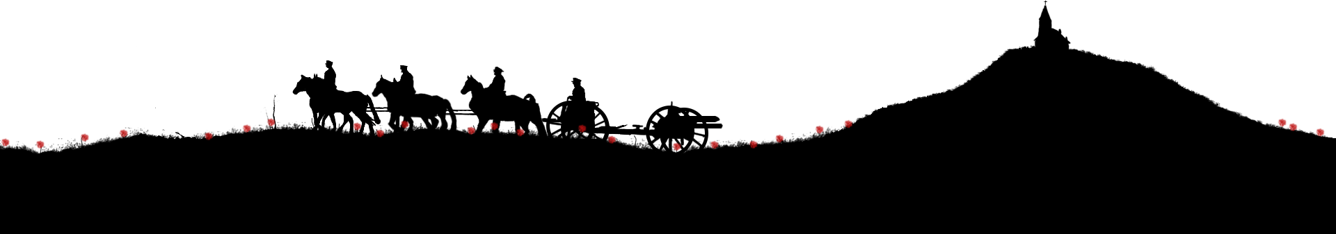 graphic of artillery cavalry silhouette on poppy field